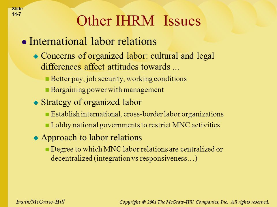 Irwin/McGraw-Hill Copyright  2001 The McGraw-Hill Companies, Inc. All rights reserved. Other IHRM Issues International labor relations  Concerns of