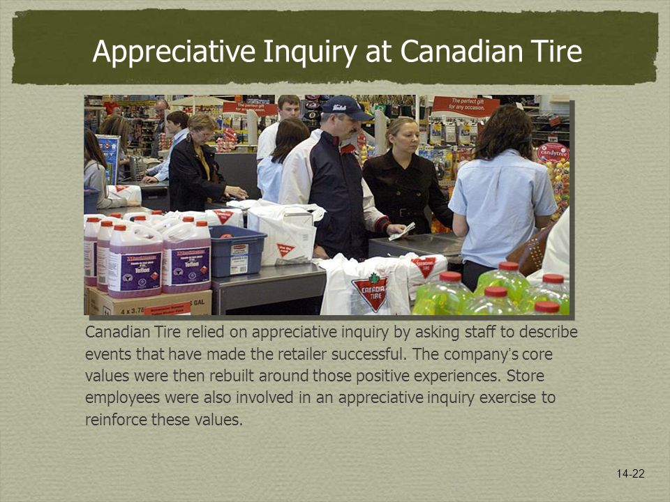 14-22 Appreciative Inquiry at Canadian Tire Canadian Tire relied on appreciative inquiry by asking staff to describe events that have made the retaile