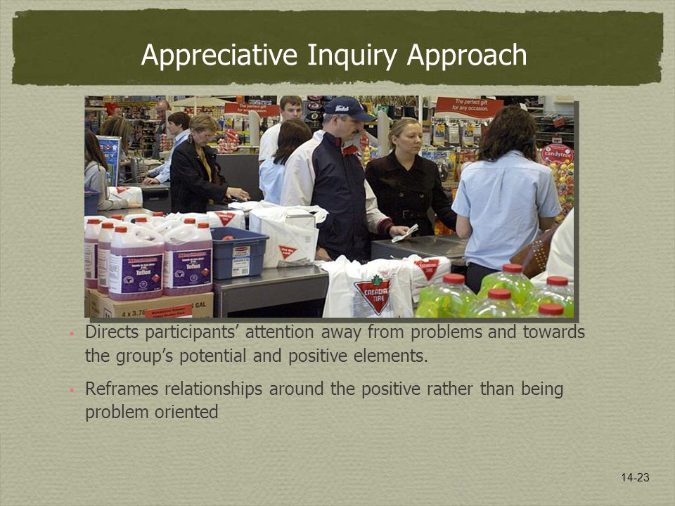 14-23 Appreciative Inquiry Approach  Directs participants' attention away from problems and towards the group's potential and positive elements.
