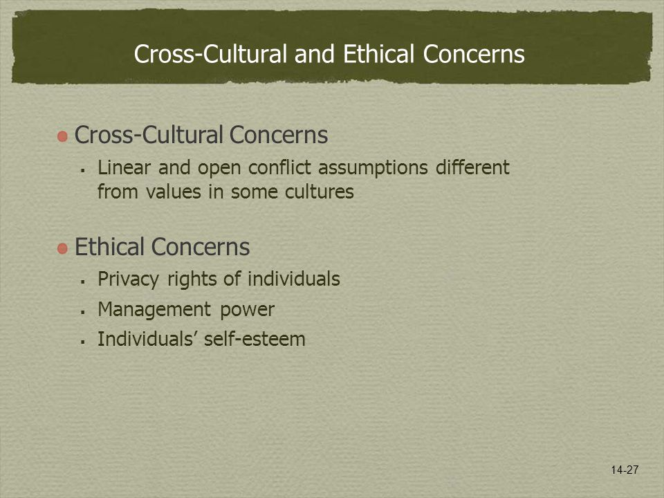 14-27 Cross-Cultural and Ethical Concerns Cross-Cultural Concerns  Linear and open conflict assumptions different from values in some cultures Ethical Concerns  Privacy rights of individuals  Management power  Individuals' self-esteem