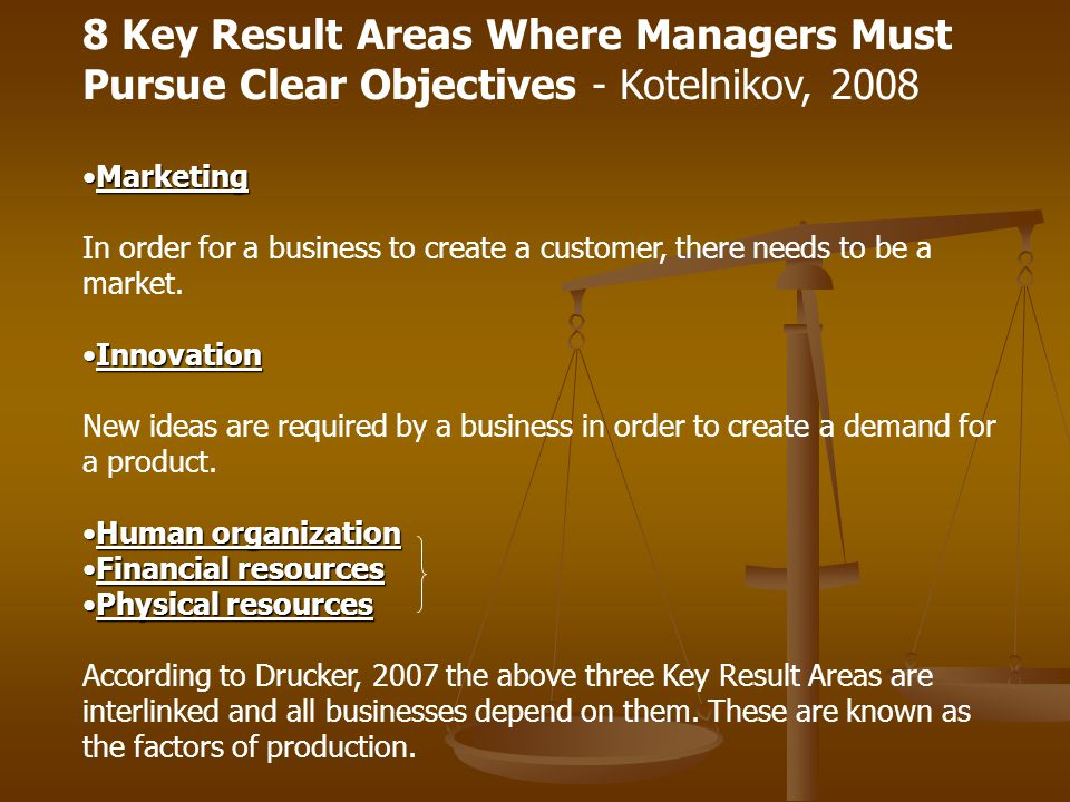 8 Key Result Areas Where Managers Must Pursue Clear Objectives - Kotelnikov, 2008 MarketingMarketing In order for a business to create a customer, the