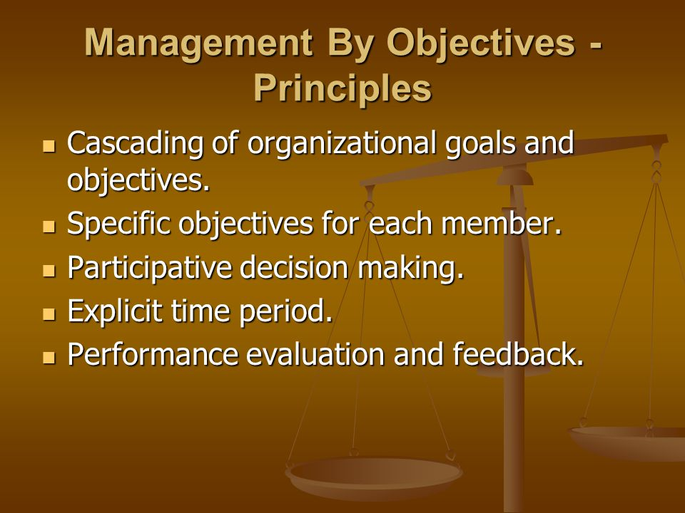 Management By Objectives - Principles Cascading of organizational goals and objectives. Cascading of organizational goals and objectives. Specific obj