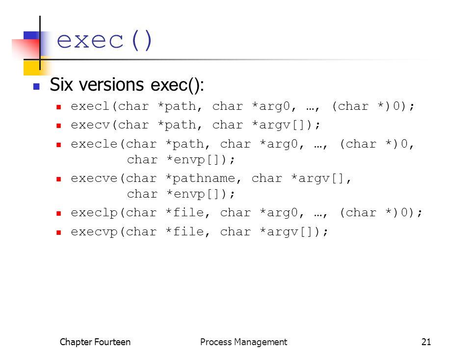 Chapter Fourteen Process Management21 exec() Six versions exec(): execl(char *path, char *arg0, …, (char *)0); execv(char *path, char *argv[]); execle(char *path, char *arg0, …, (char *)0, char *envp[]); execve(char *pathname, char *argv[], char *envp[]); execlp(char *file, char *arg0, …, (char *)0); execvp(char *file, char *argv[]);