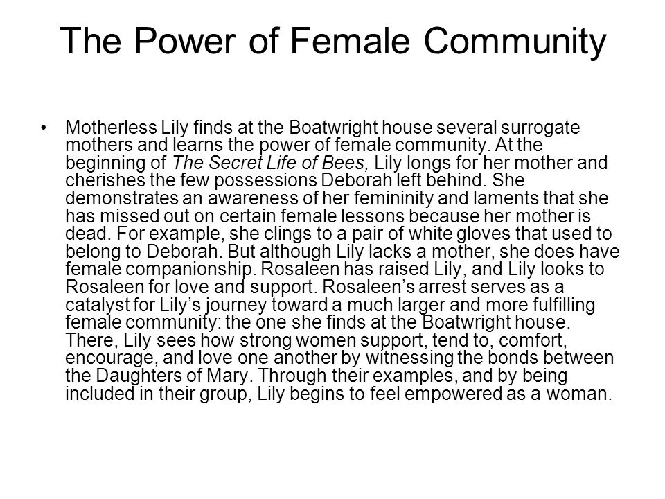 The Power of Female Community Motherless Lily finds at the Boatwright house several surrogate mothers and learns the power of female community.