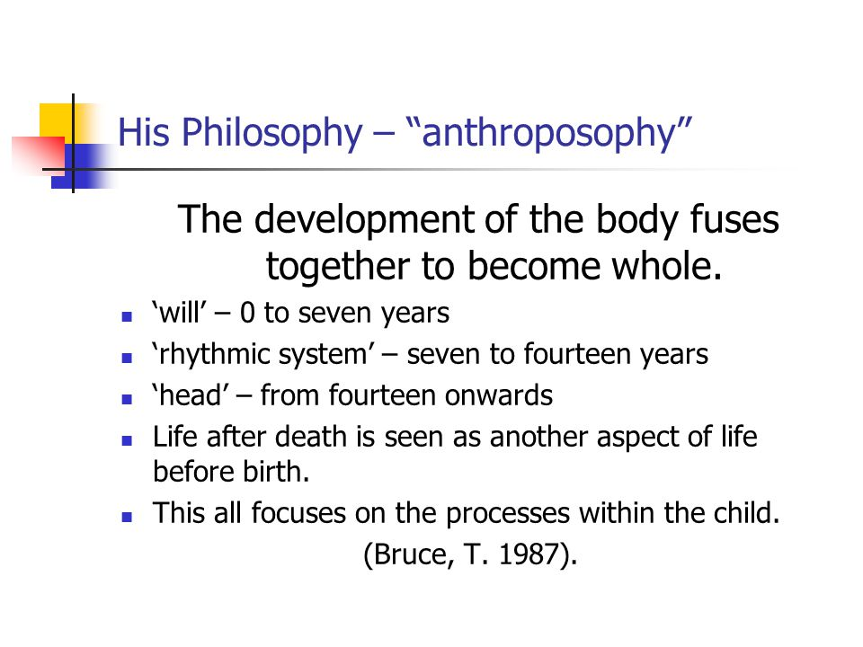 His Philosophy – anthroposophy The development of the body fuses together to become whole.