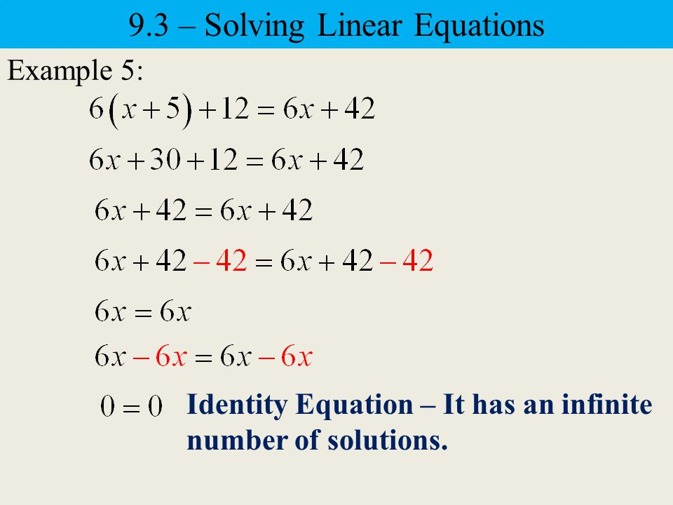 Example 4: Check: 9.3 – Solving Linear Equations