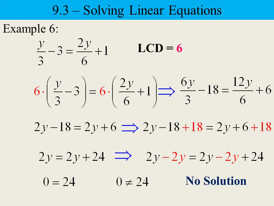 Example 5: Identity Equation – It has an infinite number of solutions.