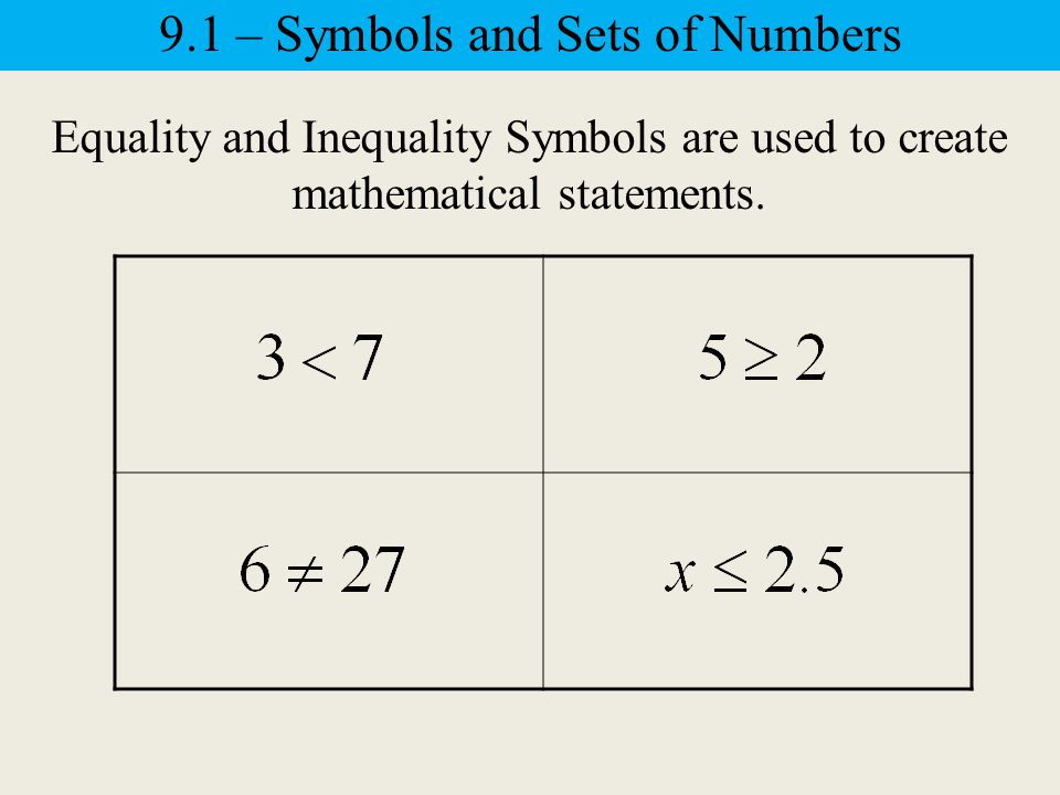 Inequality Symbols 9.1 – Symbols and Sets of Numbers