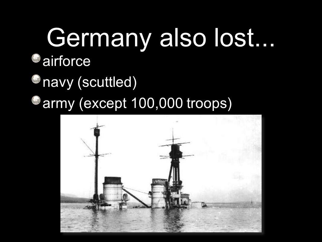 Germany also lost... airforce navy (scuttled) army (except 100,000 troops)