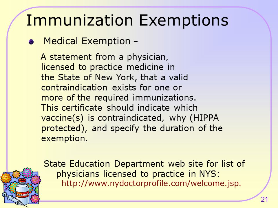 20 Students Without Immunization Record Those students for whom you have no immunization record Students with religious or medical exemptions should not be counted as having no record.
