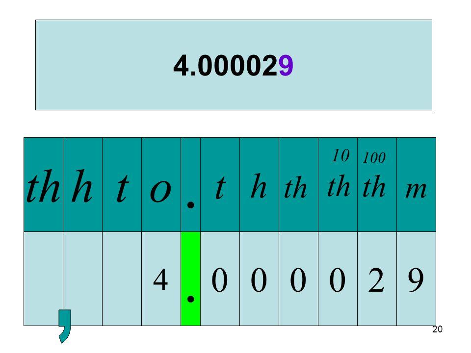 20 4. 000 thhto. t h 4.000029 th 029 10 th 100 th m