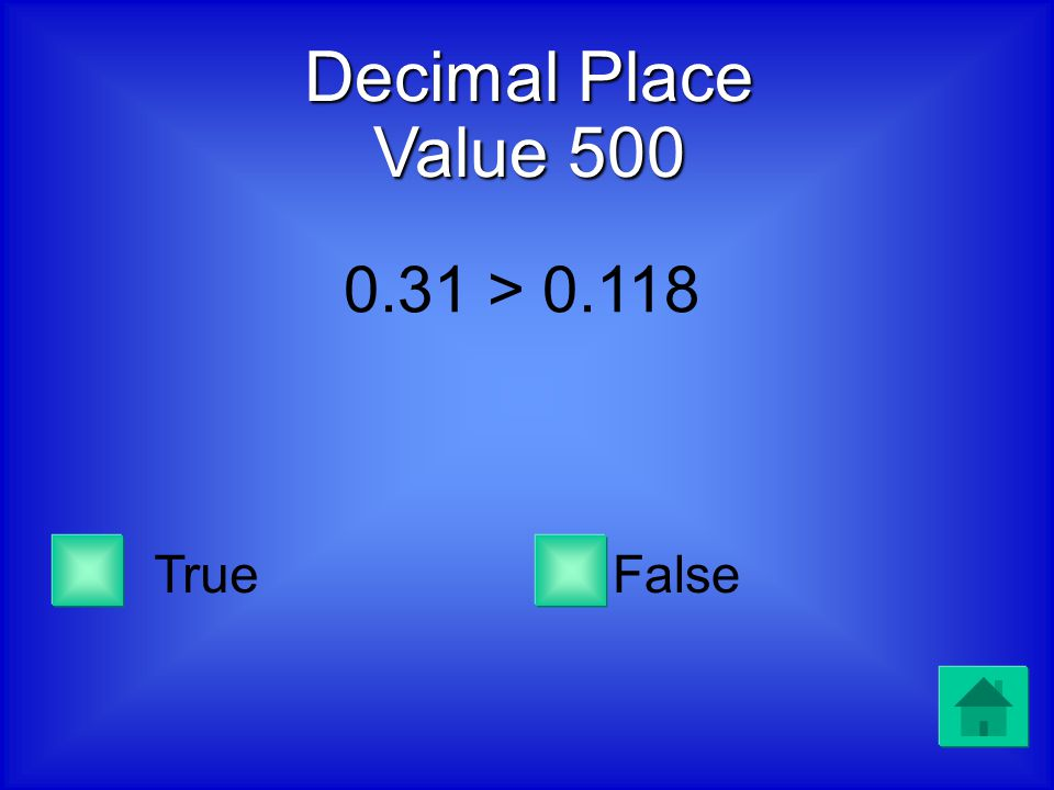 Decimal Place Value 400 0.46 is greater than 0.04 but less than 0.3 TrueFalse