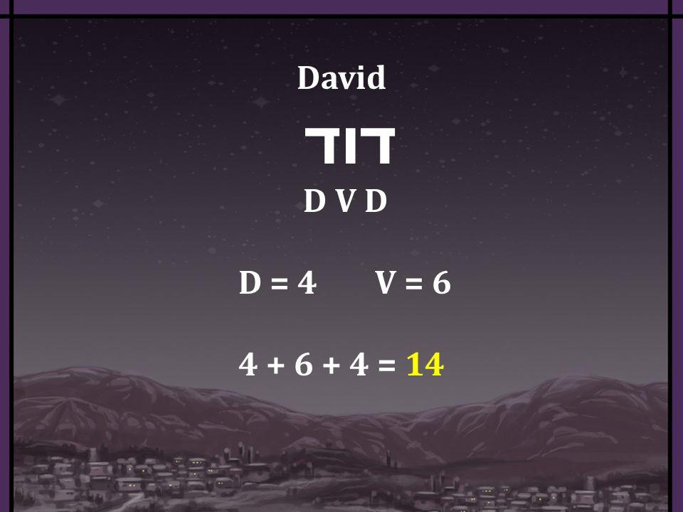 David דוד D V D D = 4 V = 6 4 + 6 + 4 = 14
