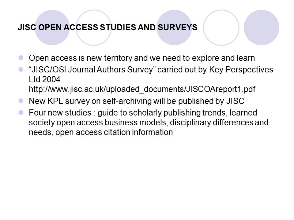 JISC current / future activities Repositories call GNU Eprints software Sherpa-DP and Preserv DOAR Digital Asset Management and Preservation Involvement with Wellcome Euro/UK PMC Shared Services Digital Curation Centre Standards work / UKOLN