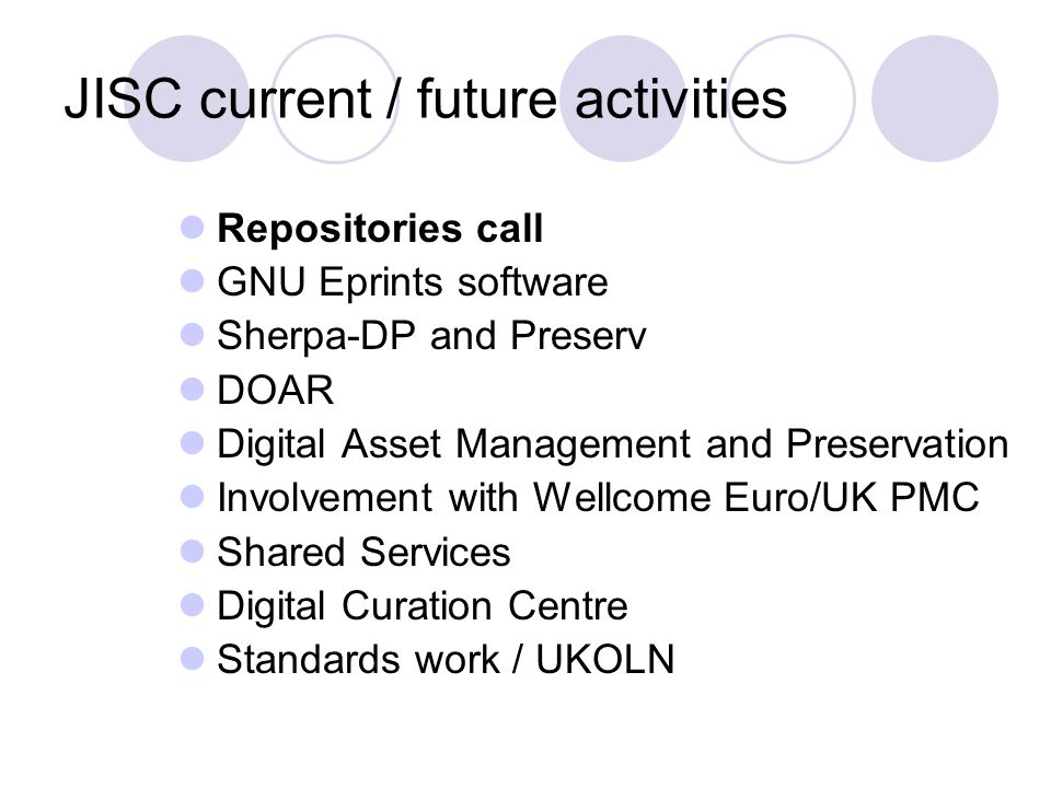 Repositories call Studies Thematic, open call Repositories Workflow, organisational, political issues Technical issues, standards Services Pilot services Town meeting Wednesday in London