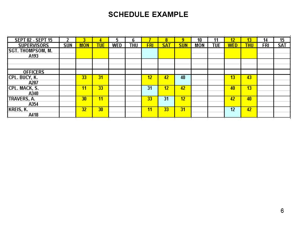 17 8 HOUR DAY SCHEDULING For the 0600-1800 shift two officers would be scheduled to leave early (1400 hours).