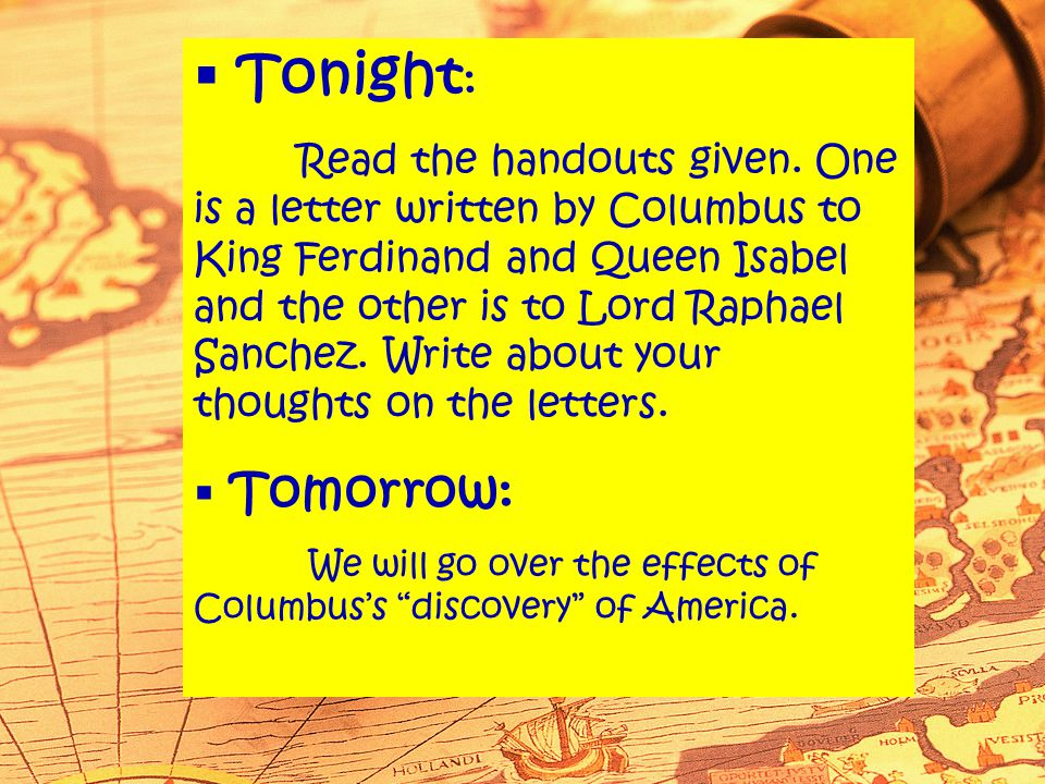  Tonight : Read the handouts given.