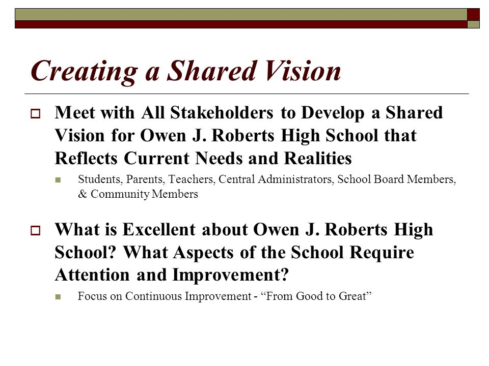 Advancing the Shared Vision  Create a School Advisory Team  Members of the School Advisory Team Will Lead Action Teams Whose Purpose will be to Study, Research, Discuss, and Advise the School Community in Several Key Areas: Data Professional Development Assessment School Climate & Student Behavior Student Support Services Technology Parent Involvement