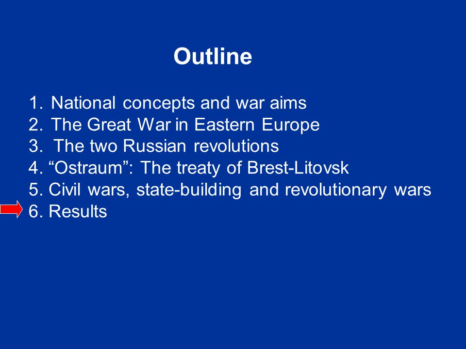 "Outline 1. National concepts and war aims 2. The Great War in Eastern Europe 3. The two Russian revolutions 4. ""Ostraum"": The treaty of Brest-Litovsk"