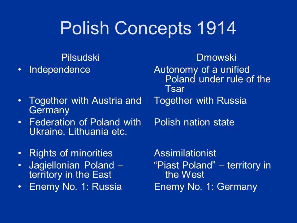 Polish Concepts 1914 Pilsudski Independence Together with Austria and Germany Federation of Poland with Ukraine, Lithuania etc. Rights of minorities J