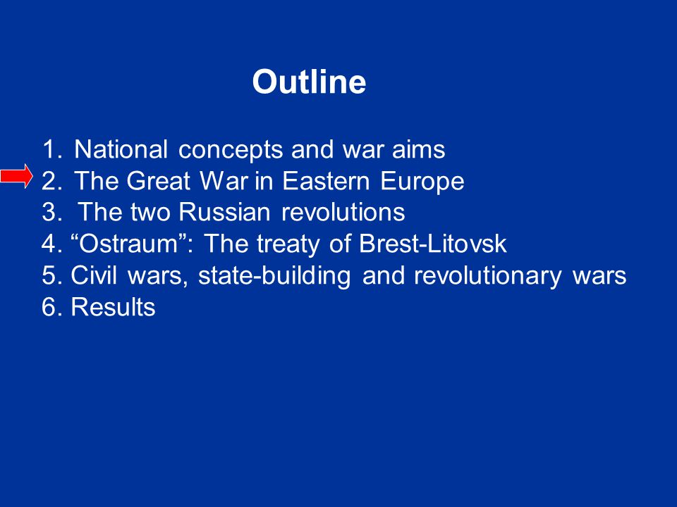 Outline 1.National concepts and war aims 2. The Great War in Eastern Europe 3.