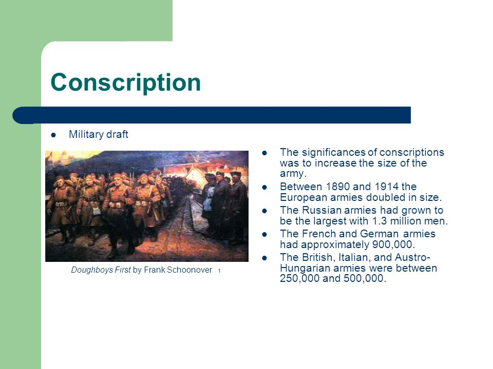 Conscription Military draft The significances of conscriptions was to increase the size of the army.