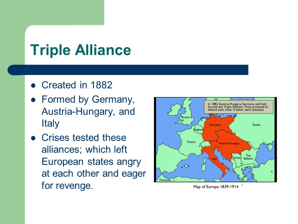Triple Alliance Created in 1882 Formed by Germany, Austria-Hungary, and Italy Crises tested these alliances; which left European states angry at each other and eager for revenge.