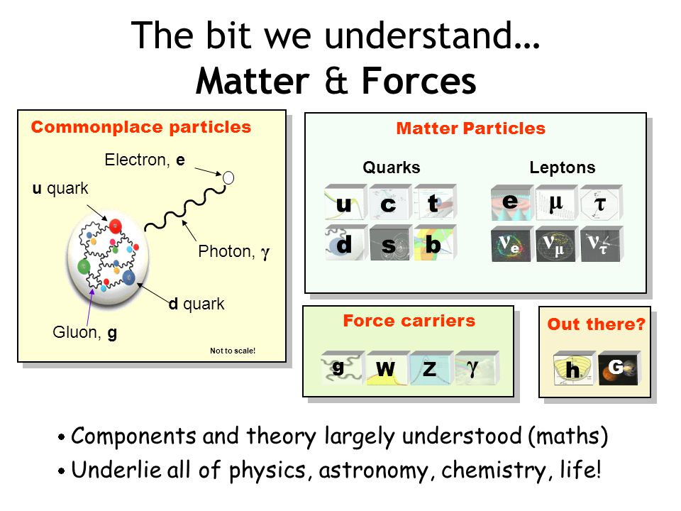 The bit we understand… Matter & Forces Electron, e d quark Photon, γ Gluon, g Not to scale.