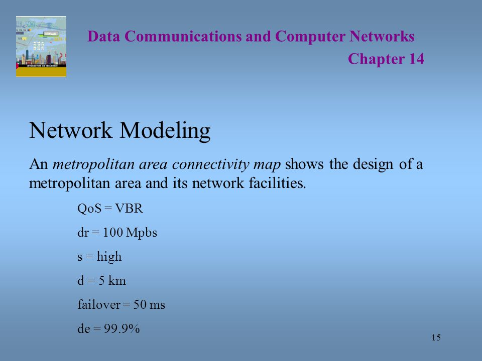 15 Data Communications and Computer Networks Chapter 14 Network Modeling An metropolitan area connectivity map shows the design of a metropolitan area and its network facilities.