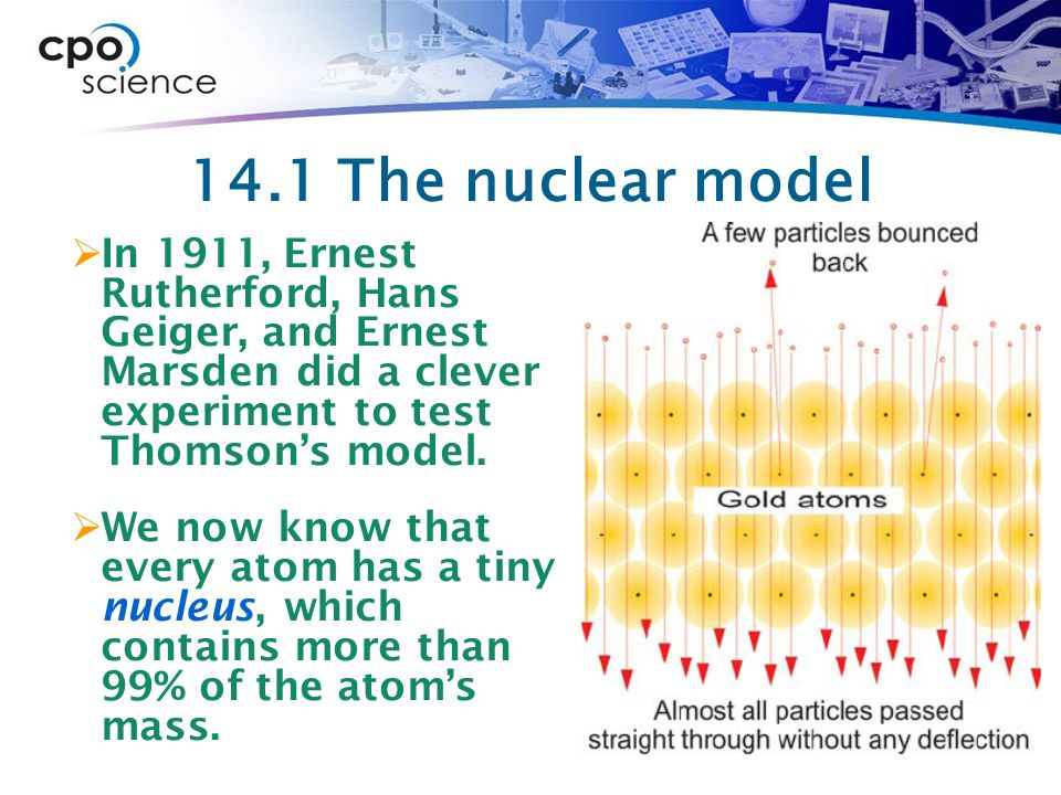 14.1 Inside an atom  The mass of the nucleus determines the mass of an atom because protons and neutrons are much larger and more massive than electrons.