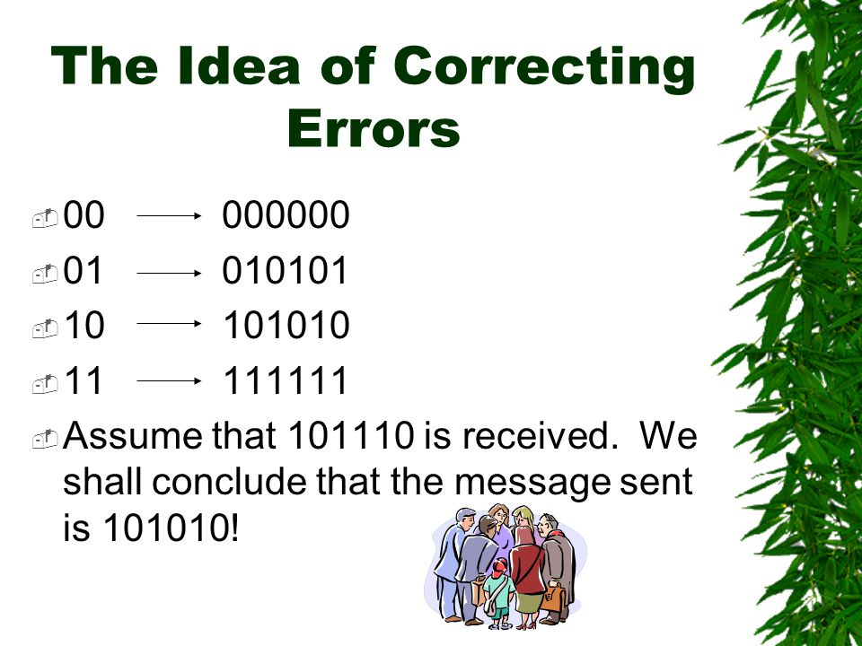 Error Correction  When an error occurs, we may not be able to know where is the error digit.