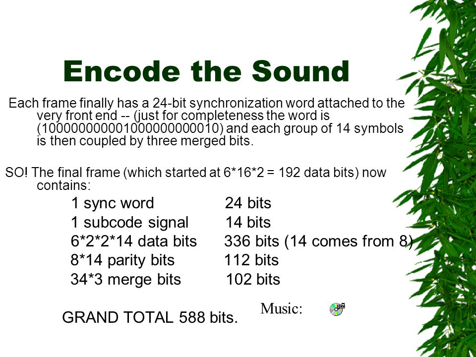 EFM  A subcode of length 8 is then added to the front end of the word.