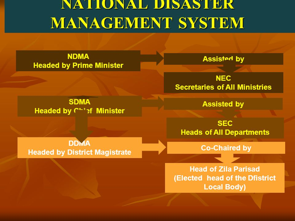 NATIONAL DISASTER MANAGEMENT SYSTEM NDMA Headed by Prime Minister Assisted by NEC Secretaries of All Ministries SDMA Headed by Chief Minister Assisted by SEC Heads of All Departments DDMA Headed by District Magistrate Co-Chaired by Head of Zila Parisad (Elected head of the Dfistrict Local Body)