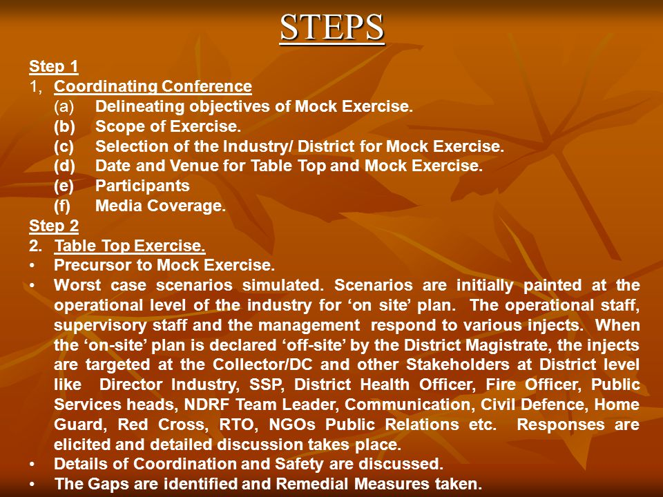 STEPS Step 1 1,Coordinating Conference (a)Delineating objectives of Mock Exercise.