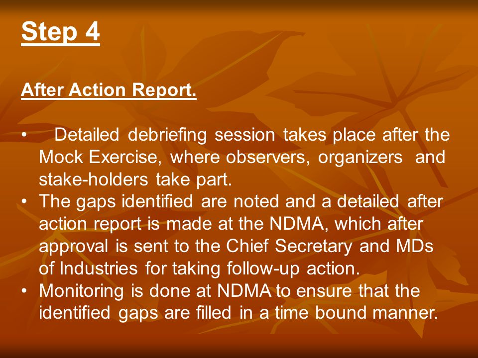 Step 4 After Action Report.
