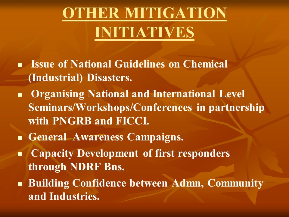 OTHER MITIGATION INITIATIVES Issue of National Guidelines on Chemical (Industrial) Disasters.