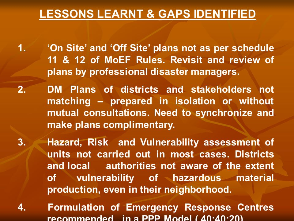 LESSONS LEARNT & GAPS IDENTIFIED 1.