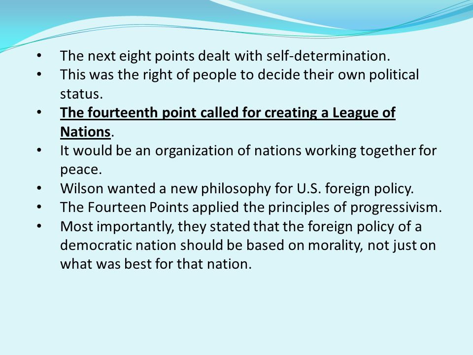 The next eight points dealt with self-determination.