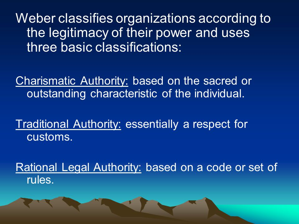 Weber recognizes that rational legal authority is used in the most efficient form of organization because: A legal code can be established which can claim obedience from members of the organization The law is a system of abstract rules which are applied to particular cases; and administration looks after the interests of the organization within the limits of that law.