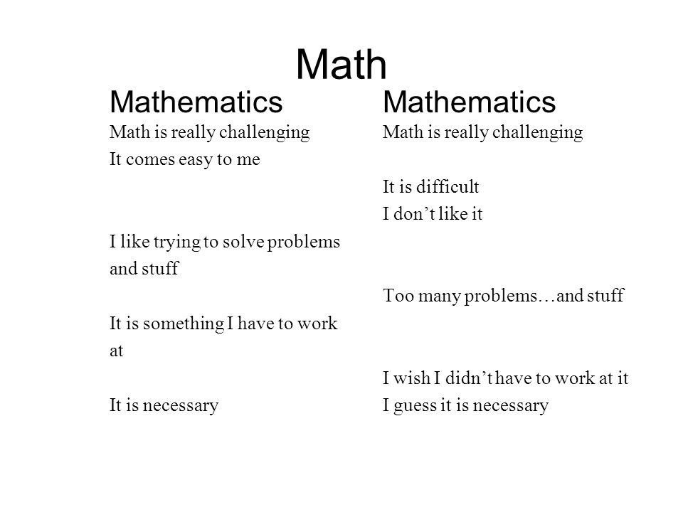 Math MathematicsMathematics Math is really challengingMath is really challenging It comes easy to me It is difficult I don't like it I like trying to solve problems and stuff Too many problems…and stuff It is something I have to work at I wish I didn't have to work at it It is necessaryI guess it is necessary