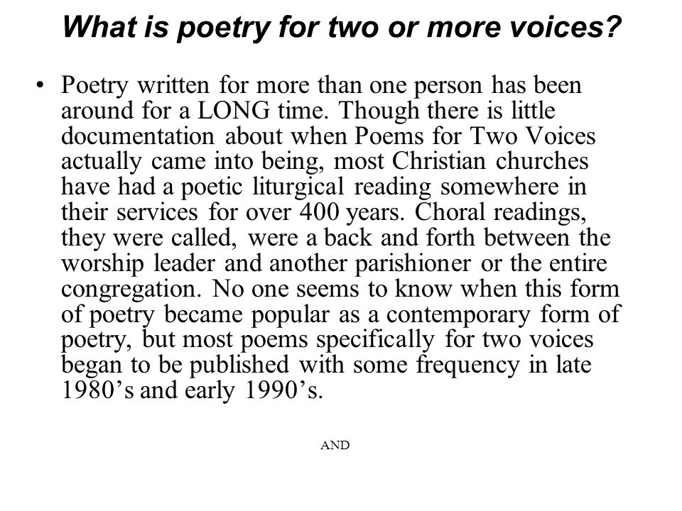What is poetry for two or more voices.