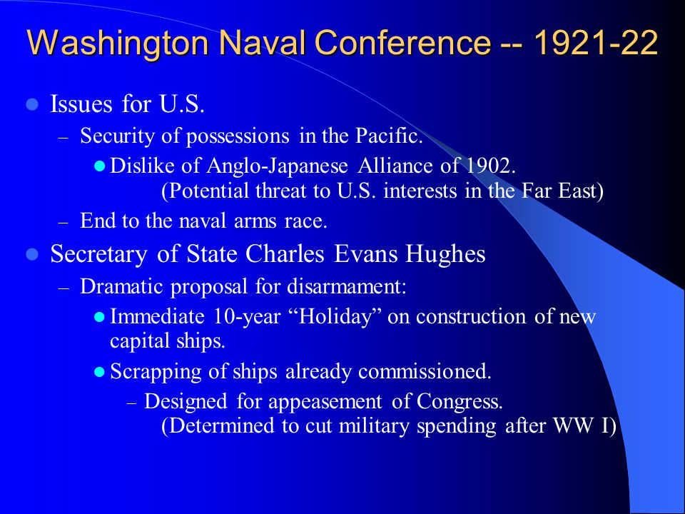 Washington Naval Conference -- 1921-22 Issues for U.S.
