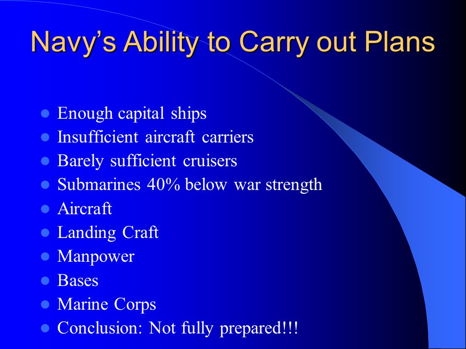 Navy's Ability to Carry out Plans Enough capital ships Insufficient aircraft carriers Barely sufficient cruisers Submarines 40% below war strength Aircraft Landing Craft Manpower Bases Marine Corps Conclusion: Not fully prepared!!!