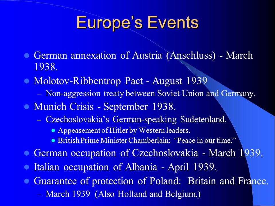 Europe's Events German annexation of Austria (Anschluss) - March 1938.