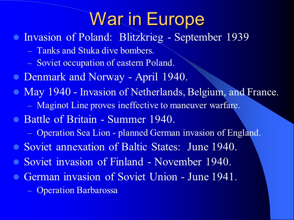 War in Europe Invasion of Poland: Blitzkrieg - September 1939 – Tanks and Stuka dive bombers.