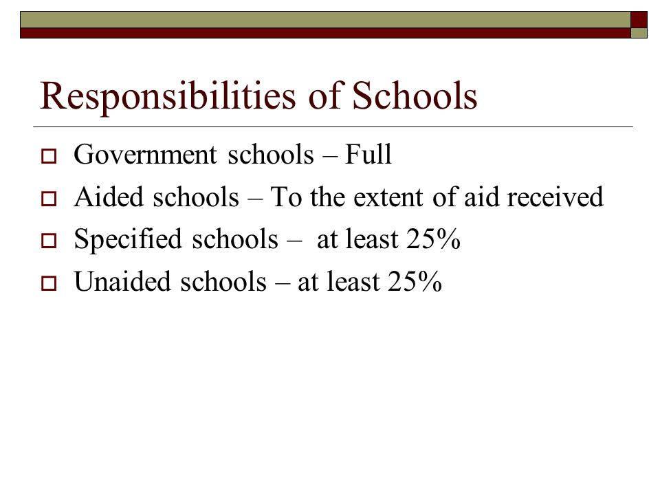 Responsibilities of Schools  Government schools – Full  Aided schools – To the extent of aid received  Specified schools – at least 25%  Unaided schools – at least 25%