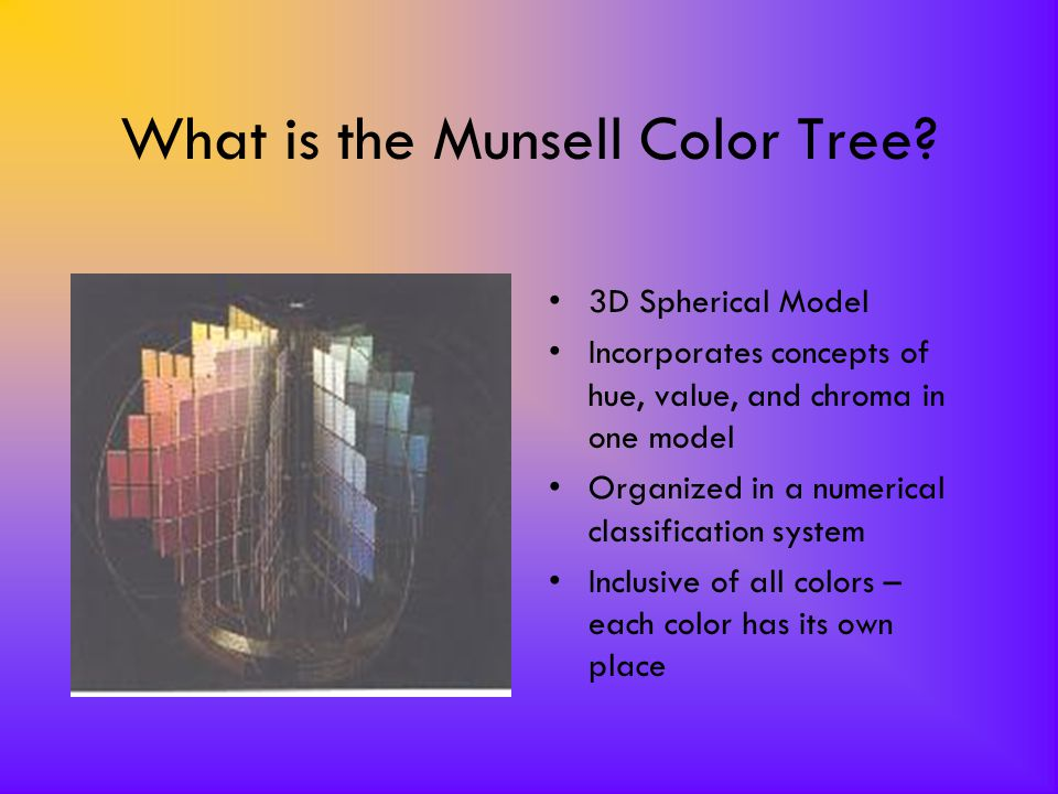 What is the Munsell Color Tree? 3D Spherical Model Incorporates concepts of hue, value, and chroma in one model Organized in a numerical classificatio