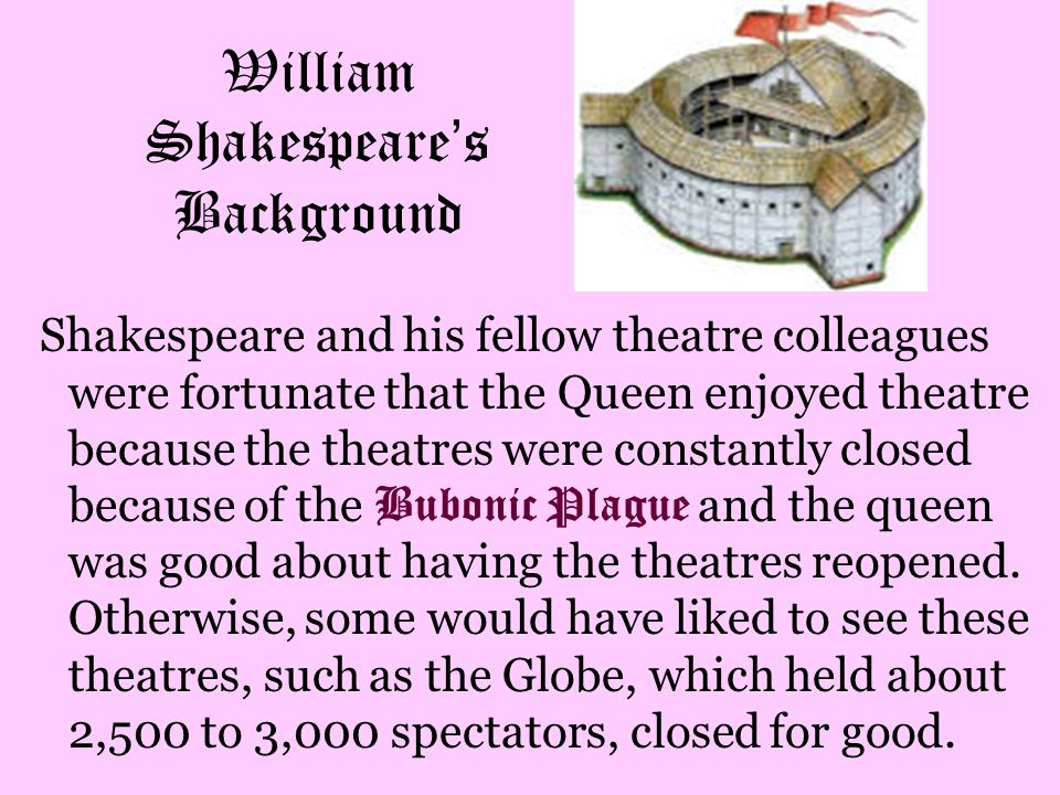 William Shakespeare ' s Background Shakespeare and his fellow theatre colleagues were fortunate that the Queen enjoyed theatre because the theatres we