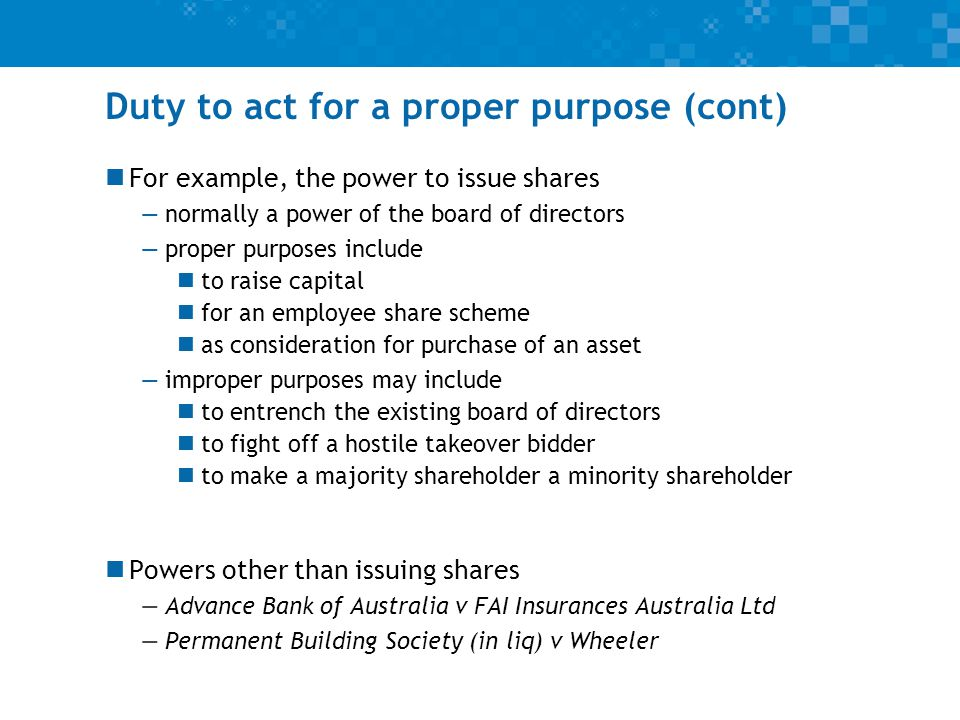 Consequences of breach of duty See Lecture 16 for discussion