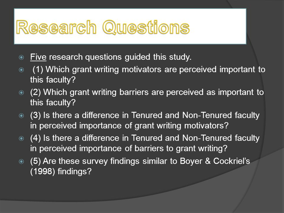  Five research questions guided this study.